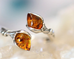 Natural  Baltic Amber Sterling Silver  Ring size P  code GI 603