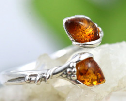 Natural  Baltic Amber Sterling Silver  Ring size T  code GI 607