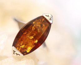Natural  Baltic Amber Sterling Silver  Ring size L  code GI 609