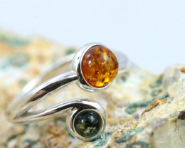 Natural  Baltic Amber Sterling Silver  Ring size L  code GI 621