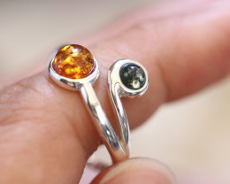 Natural  Baltic Amber Sterling Silver  Ring size N  code GI 623