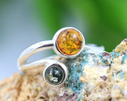 Natural  Baltic Amber Sterling Silver  Ring size N  code GI 624