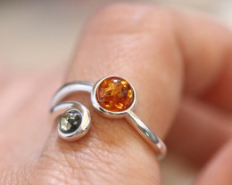 Natural  Baltic Amber Sterling Silver  Ring size T  code GI 631