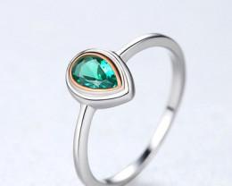 Silver 925 Quailty Emerald Green  Fashion Ring size N  code CCC 1475