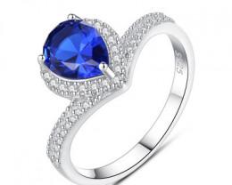 Silver 925 Quailty Sapphire BlueFashion Ring size N  code CCC 1475