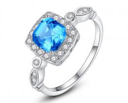 Silver 925 Quailty Sapphire BlueFashion Ring size N code CCC 1477