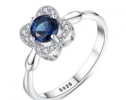 Silver 925 Quailty Sapphire deep blue Fashion Ring size N  code CCC 1478