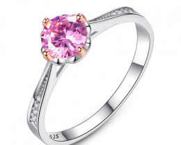 Silver 925 Quailty Pink Topaz Fashion Ring size N  code CCC 1479