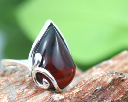 Natural  Baltic Dark Amber Sterling Silver  Ring size N  code GI 635