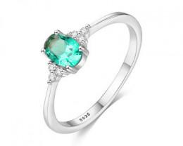 Silver 925 Quailty Emerald Green Fashion Ring size N code CCC 1481