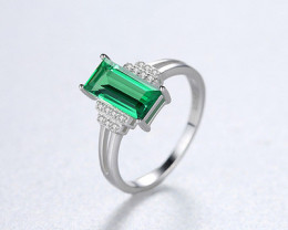 Silver 925 QuailtyEmerald Green  Fashion Ring size N  code CCC 1501