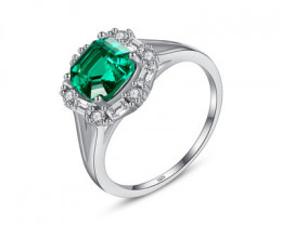 Silver 925 QuailtyEmerald Green Fashion Ring size N  code CCC 1506