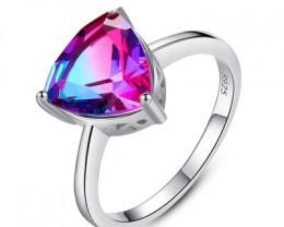 Silver 925 Quailty  Trillion Purple Fashion Ring size N  code CCC 1509