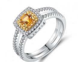 Silver 925 Quailty  golden citrine Fashion Ring size N  code CCC 1510