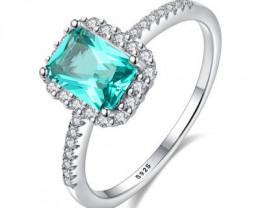 Silver 925 Quailty Emerald Green Fashion Ring size N  code CCC 1511