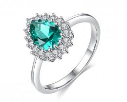 Silver 925 Quailty Emerald Green Fashion Ring size N  code CCC 1512