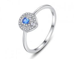 Silver 925 Quailty Sapphire blue  Fashion Ring size N  code CCC 1517
