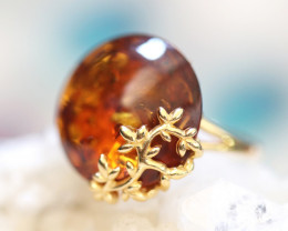 Natural Baltic Amber Gold Plated Sterling Silver Ring size L  code GI 657