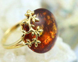 Natural Baltic Amber Gold Plated Sterling Silver Ring size P code GI 663