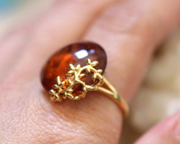 Natural Baltic Amber Gold Plated Sterling Silver Ring size R code GI 665