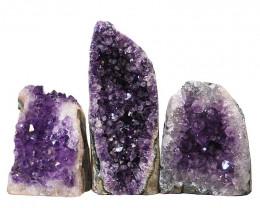 2.17kg Amethyst Crystal Geode Specimen Set 3 Pieces N115