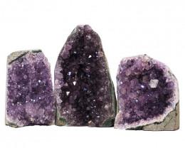 2.09kg Amethyst Crystal Geode Specimen Set 3 Pieces N118
