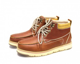 UGG CIELE MEN'S COW LEATHER WATER PROOF LACE UP BOOTS#CHOCO