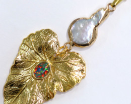 Hibicus design -Baroque Pearl & Opal Pendant 24k Gold Plated CCC 1528