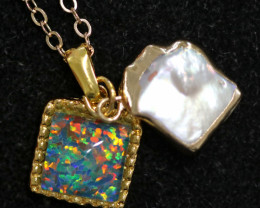 Sea Collection -Baroque Pearl & Opal Pendant 24k Gold Plated CCC 1529
