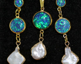 Sea Collection -Baroque Pearl & Opal 3Pc Set  24k Gold Plated CCC 1532