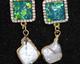 Sea Collection -Baroque Pearl & Opal Earrings 24k Gold Plated CCC 1539