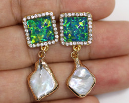 Sea Collection -Baroque Pearl & Opal Earrings 24k Gold Plated CCC 1541