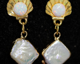 Sea Collection -Baroque Pearl & Opal Earrings 24k Gold Plated CCC 1544