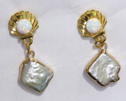 Sea Collection -Baroque Pearl & Opal Earrings 24k Gold Plated CCC 1545