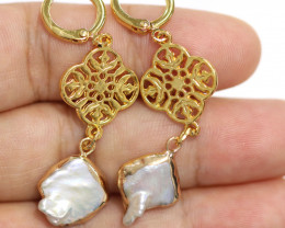 Sea Collection - Classic Baroque Pearl Earrings 24k Gold Plated CCC 1558