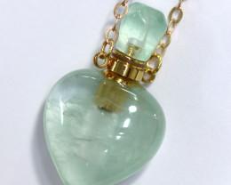 Heart shape  Green Quartz Gemstone Perfume  Bottle necklace  AHA 270