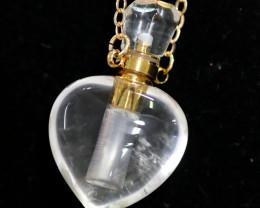 Heart Crystal  Gemstone Perfume  Bottle necklace  AHA 278