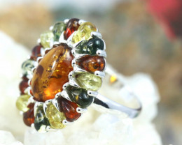 Natural  Baltic  Amber Sterling Silver Ring size N  code GI 692