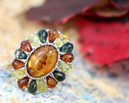 Natural  Baltic  Amber Sterling Silver Ring size N  code GI 693