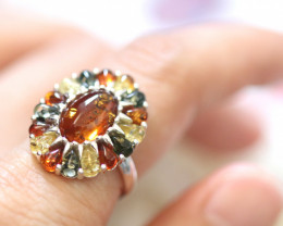 Natural  Baltic  Amber Sterling Silver Ring size R  code GI 695