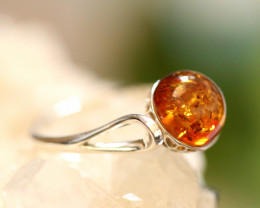Natural  Baltic  Amber Sterling Silver Ring size N  code GI 708