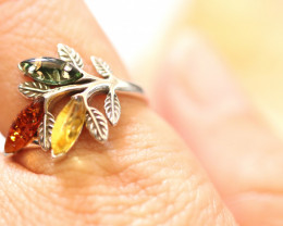 Natural  Baltic  Amber Sterling Silver Ring size N  code GI 728