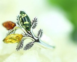 Natural  Baltic  Amber Sterling Silver Ring size P  code GI 729