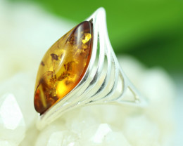 Natural  Baltic  Amber Sterling Silver Ring size N  code GI 737