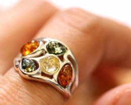 Natural  Baltic  Amber Sterling Silver Ring size L  code GI 742