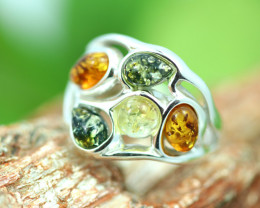 Natural  Baltic  Amber Sterling Silver Ring size N  code GI 743