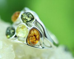 Natural  Baltic  Amber Sterling Silver Ring size R  code GI 744