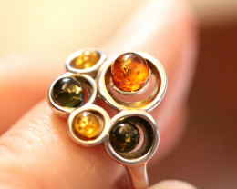 Natural  Baltic  Amber Sterling Silver Ring size L  code GI 749