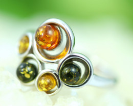 Natural  Baltic  Amber Sterling Silver Ring size R  code GI 750