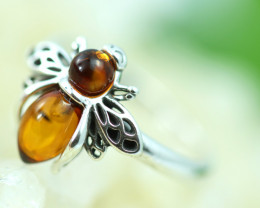 Natural  Baltic  Amber Sterling Silver Ring size L  code GI 761
